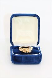 Magic Glo 14 kt Yellow Gold Nugget Ring with .03 TCW Diamonds Size 9 with Box $195.00