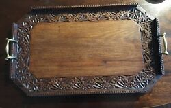 "Antique Carved Wooden Butlers Tray With Brass Handles. 23"" Long"