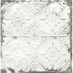 TIN CEILING WHITE DISTRESSED TILES WALLPAPER 1 DOUBLE ROLL $43.99