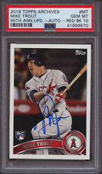 2016 Topps Archives 65th Anniversary Update Mike Trout PSA 10 Gem Auto #25 Pop 1
