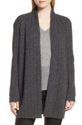 NEW Nordstrom Signature Marl Cashmere Ribbed Open Cardigan in Gray - L