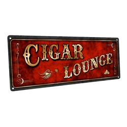 Red Cigar Lounge Metal Sign; Wall Decor for Home and Office $24.99