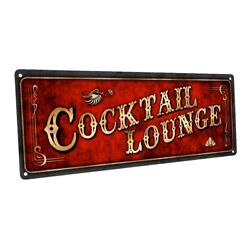 Red Cocktail Lounge Metal Sign; Wall Decor for Home and Office $19.99