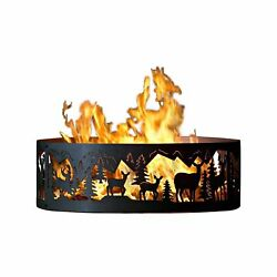 Outdoor Campfire Fire Ring w Whitetail Deer Design (48 in. Dia.)