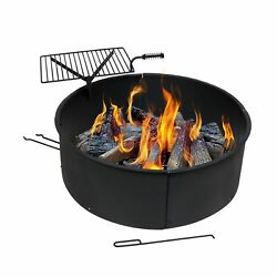 Sunnydaze Large Fire Pit Campfire Ring with BBQ Cooking Grate Outdoor Campin...