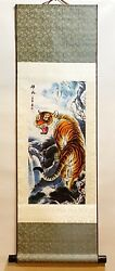 Chinese Drawing Printing on Silk Scroll Wall Hanging in Tiger Design 1 pc $19.99