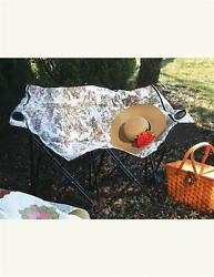 Victorian Brown Toile Lawn Chair Fold-Up Seat Garden Sports Camping Outdoor 32''