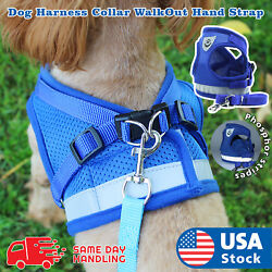 Small Dog Breathable Mesh harness Vest Collar soft chest strap XXS-L Leash set  $7.98