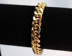 Italian Made Mens Miami Cuban Link 14k GOLD Bracelet 10mm $30.95
