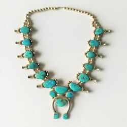 Vintage Zuni Squash Blossom Silver and Turquoise Necklace 29 inches