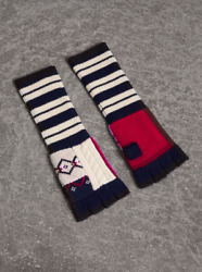 $195 BURBERRY CABLE PATCHWORK FAIR ISLE FINGERLESS CASHMERE GLOVES - WHITE - NWT