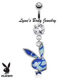 Playboy Bunny * Blue Camouflage Epoxy Clear CZ * Dangle Belly Navel Ring