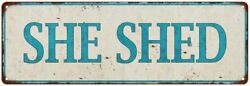 SHE SHED Distressed Look  Metal Sign 106180076003