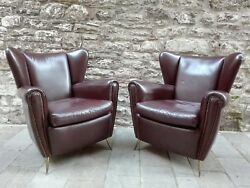 MID CENTURY PAOLO BUFFA GIO PONTI PAIR LOUNGE LEATHER CHAIR BRASS FOOTS ITALY 50