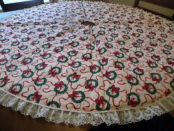 Vintage Tree Skirt Christmas Wreath $22.50