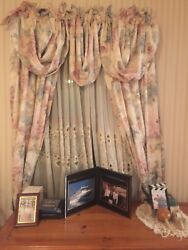 1 Pr Drapes Custom Floral Pattern Thermal Lined Pastel Pinch Pleat Includes She