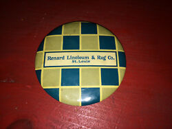 Antique Renard Linoleum & Rug Co. St. Louis Advertising Celluloid Pocket Mirror