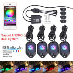 4 PCS RGB LED Multi-color Rock Lights With Wireless Bluetooth For Offroad ATV