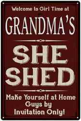 GRANDMA'S She Shed Red Sign Personalized Lady Cave Metal Sign 108120088003