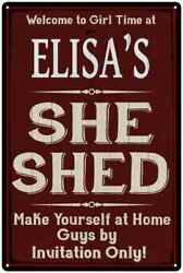 ELISA'S She Shed Red Sign Personalized Lady Cave Metal Sign 108120088494