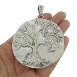 2pcs Antique Silver Tone Large Tree With Moon Charms Pendants Jewelry Findings $4.50
