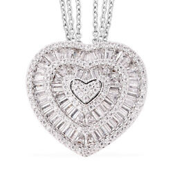 White Cubic Zirconia CZ Heart Chain Pendant Necklace Jewelry for Women 20