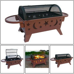 Stars and Moon Georgia Clay Northern Lights Outdoor Fireplace Portable Grill NEW