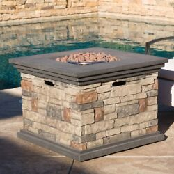 Attractive Fire Pit with Lava Rocks Liquid Propane Stone Outdoor Patio Fireplace