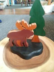 Wooden Moose and pine tree Lodge Log Cabin Home Decor NEW