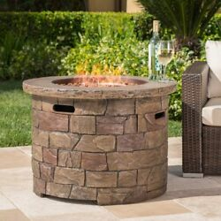 Patio Fire Pit Stone Finish Propane Gas 40000BTU Table Outdoor Pool Fireplace