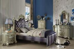 Gray & Champagne Youth Upholstered Queen Bed Set 5 Acme Furniture 30690Q Vendome