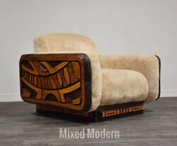 Router Cut Modern Abstract Beige Lounge Chair Mid Century Rustic