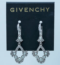 Givenchy Chandelier Earrings Faux Pearl Silver Tone Leverback NEW $45.00