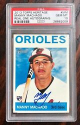 2013 TOPPS HERITAGE MANNY MACHADO REAL ONE AUTO AUTOGRAPH ON CARD PSA 10 POP 5!