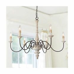 LALUZ 6-Light Shabby Chic French Country Candle Lighting Rustic Pendant Light...