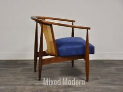 Walnut and Cane Blue Lounge Chair Mid Century Modern