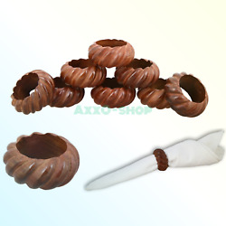 Shalinindia Handmade Party Decor Wooden Napkin Rings Set of 8 for Table Dinne...