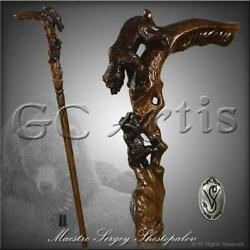 Unique She Bear Mother Hand carved Walking Stick Cene Hiking Staff Dark