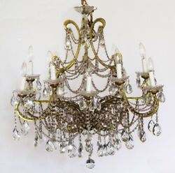 Rare Xlrg 12 Light Antique Beaded Italian Chandelier Showstopper