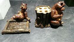 Rustic Brown Bear Soap Dish And Tooth Brush Holder log cabin lodge decor
