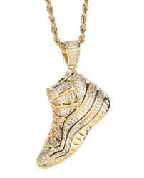 5.38CTW NATURAL DIAMOND 14K SOLID YELLOW GOLD HIP HOP SNEAKERS PENDANT FOR MAN