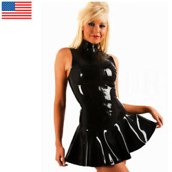 Women Gothic Black Zipper Wet Look VINYL PVC Dress Cocktail Party Clubwear