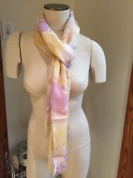 NWT Loro Piana Yellow and Purple Floral Cashmere Blend Wrap Scarf  FS
