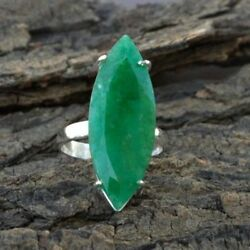 Reach Green Marquise Emerald Gemstone Sterling Silver Ring Size