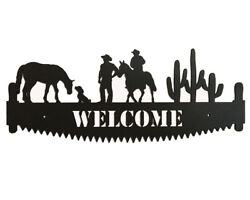 Cowboy Welcome Saw Blade  - Cabin Decor Wall Art - Horse Sign