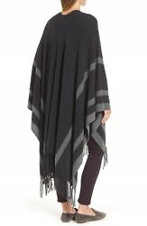 NWT Nordstrom Collection Luxe Stripe Cashmere Ruana in CharcoalGray - Size OS