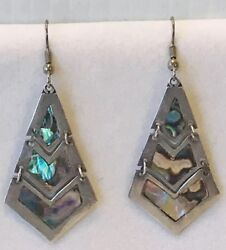 Vintage Signed Eagle Mark Mexico Sterling Silver Abalone 3 Tier Dangle Earrings