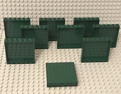Lego 9 Pieces Dark Green 1x6x5 Panel Wall Building Parts has Scratches marks $6.99