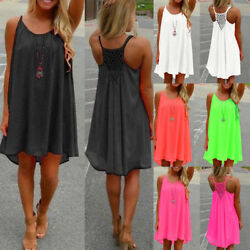 Womens Summer Beach Wear Bikini Cover Up Boho Swimwear Ladies Swing Sun Dress P9 $9.98