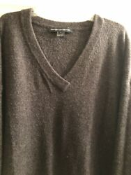 French Connection Charcoal Gray V Neck  Pullover Sweater Size Large